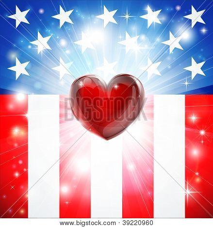 American Heart Patriotic Background
