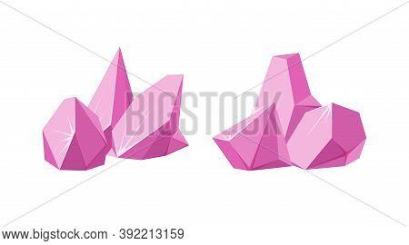 Crystals Broken Into Pieces. Set Of Smashed Ruby Crystals. Broken Gemstones Or Pink Rocks. Vector Il