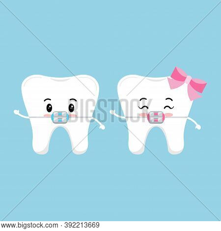Cute Tooth With Dental Braces Character Set. Dental Braces On White Cute Smilling Teeth Treatment Co