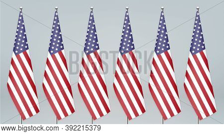 United States Hanging Flag On Stand. Politic Conference Backgrou