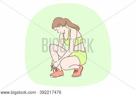 Sport, Athletics, Workout Concept. Young Happy Woman Teen Athlete Cartoon Character Tying Shoelaces