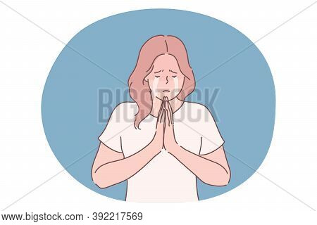 Religion, Praying, Begging Concept. Unhappy Crying Desperate Woman Or Girl Cartoon Character Pray To