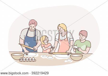 Recreation, Fatherhood, Cooking, Family Day, Motherhood Concept. Family Man Dad Woman Mum Children K