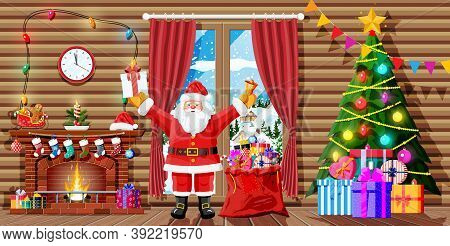 Christmas Interior Of Room With Santa Claus, Tree, Window, Gifts, Decorated Fireplace. Happy New Yea
