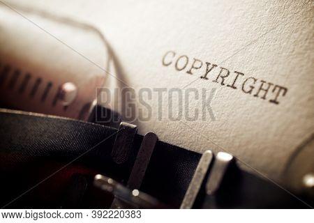 Copyright word written with a typewriter.