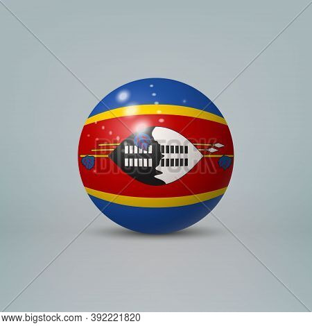 3d Realistic Glossy Plastic Ball Or Sphere With Flag Of Eswatini