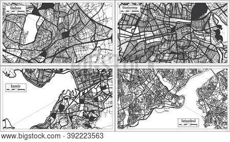 Izmir, Gaziantep, Istanbul and Gebze Turkey City Maps Set in Black and White Color in Retro Style. Outline Maps.