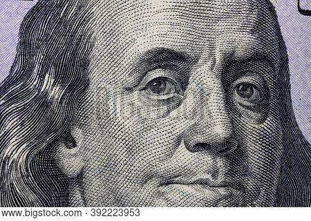 United States Hundred Dollars Money Bill Closeup. Portrait Of Us President Benjamin Franklin On 100