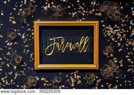 Frame, Golden Glitter Christmas Decoration, Text Farewell