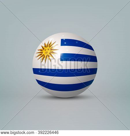 3d Realistic Glossy Plastic Ball Or Sphere With Flag Of Uruguay