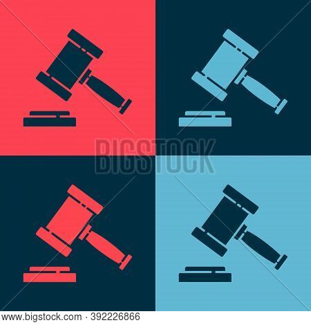 Pop Art Judge Gavel Icon Isolated On Color Background. Gavel For Adjudication Of Sentences And Bills
