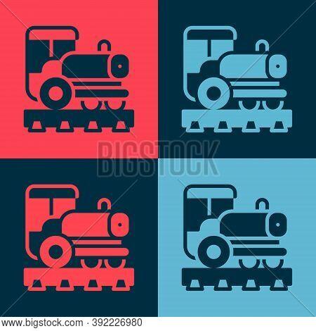 Pop Art Vintage Locomotive Icon Isolated On Color Background. Steam Locomotive. Vector