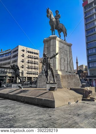 Turkey, Ankara - October 23, 2019: Victory Monument In The Ulus Square In Ankara, Vertical. Group Of