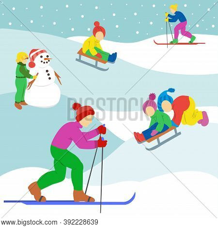 Playing Outdoor. Children Sledding. Boys Skiing. Girl Making The Snowman. Funny Cartoon Character.
