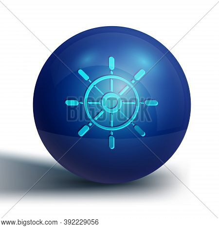 Blue Ship Steering Wheel Icon Isolated On White Background. Blue Circle Button. Vector