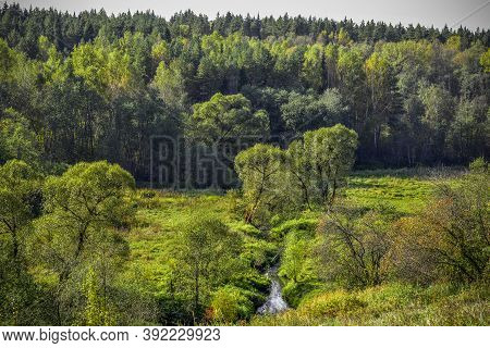View From The Height Of The Field, River And Forest.