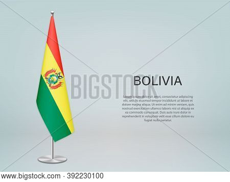 Bolivia Hanging Flag On Stand. Template Forconference Banner