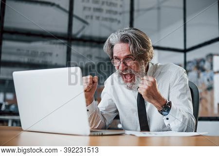 Expressive Mature Businessman With Grey Hair And Beard In Formal Clothes Is In The Office Against La