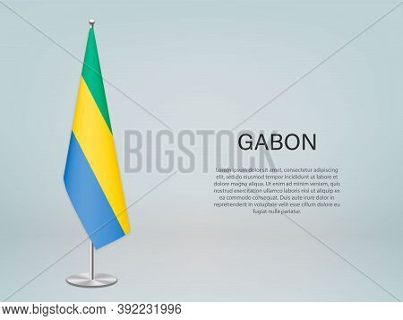 Gabon Hanging Flag On Stand. Template Forconference Banner