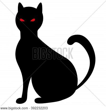 Cat. Silhouette. Witch's Pet. Black Color. Vector Illustration. Halloween Symbol. Outline On An Isol