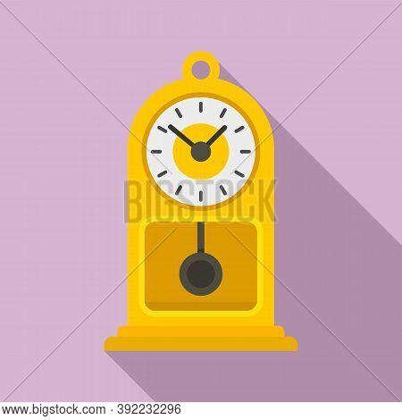 Chalet Pendulum Clock Icon. Flat Illustration Of Chalet Pendulum Clock Vector Icon For Web Design