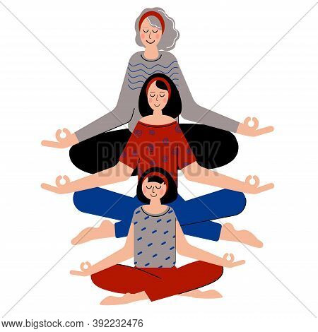 Daughter, Mum And Grandmother Meditate Together. Keep Calm And Meditate.
