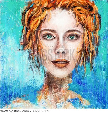 Abstract Painting Of A Woman Face With Green Eyes And Red Hair On Canvas.modern Impressionism, Moder