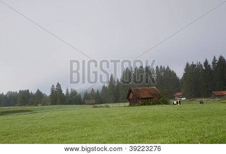 small village close to Wallgau in morning fog Bavaria poster