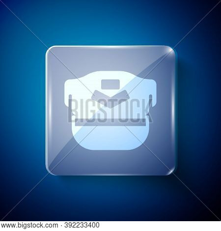 White Pilot Hat Icon Isolated On Blue Background. Square Glass Panels. Vector
