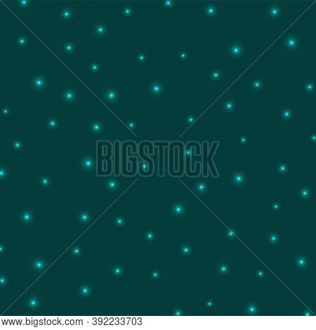 Starry Background. Stars Sparsely Scattered On Cyan Background. Artistic Glowing Space Cover. Attrac