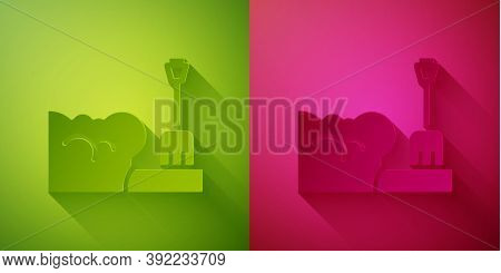 Paper Cut Shovel In Snowdrift Icon Isolated On Green And Pink Background. Paper Art Style. Vector