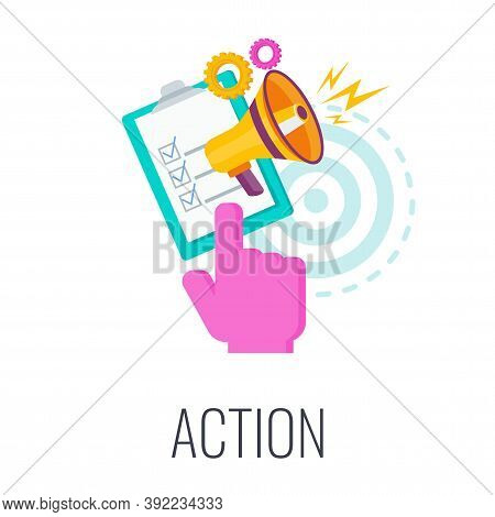 Action Icon. Call To Action, Cta. Report With Chart, Rocket Flies Out Of The Box. Outbound Marketing