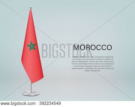 Morocco Hanging Flag On Stand. Template Forconference Banner