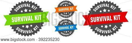 Survival Kit Sign. Round Ribbon Label Set. Seal