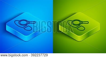 Isometric Line Magnifying Glass With Footsteps Icon Isolated On Blue And Green Background. Detective