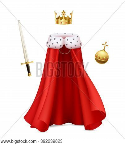 King Cloak Composition With Realistic Image Of Monarch Gown With Red Royal Robe Sceptre And Ball Vec