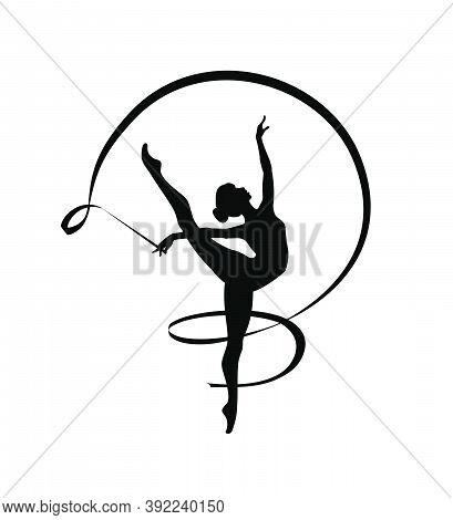 Rhythmic Gymnastics Girl With Ribbon. Vector Dancer Silhouette Black On White