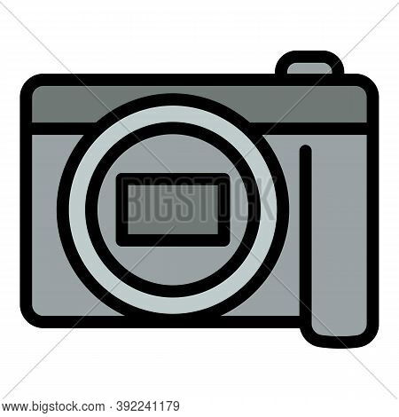 Dslr Camera Icon. Outline Dslr Camera Vector Icon For Web Design Isolated On White Background