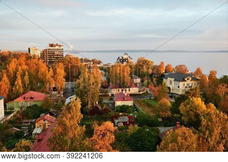 Petrozavodsk, Karelia, Russia - September 30, 2020: View From Above On Petrozavodsk, The Capital Cit