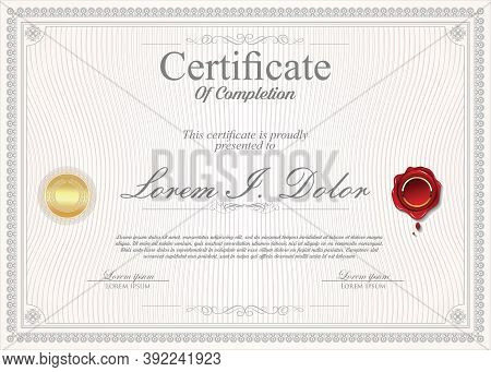 Certificate Or Diploma  Retro Vintage Template Vector