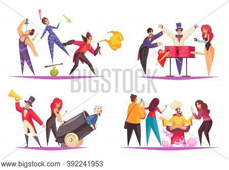 Cartoon Set Of 2x2 Compositions With Circus Jugglers Magicians And Audience Isolated On White Backgr