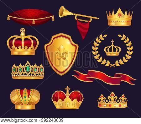 Monarchy Attributes Heraldic Symbols Realistic Set With Gold Crowns Tiara Trumpet Laurel Wreath Cere