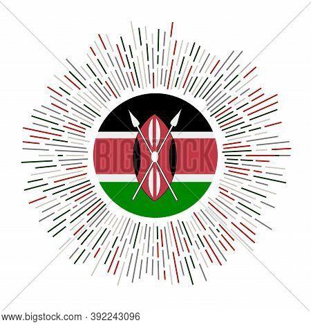 Kenya Sign. Country Flag With Colorful Rays. Radiant Sunburst With Kenya Flag. Vector Illustration.