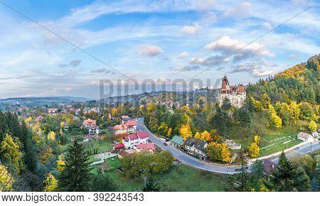Rural Landscape Bran With Medieval Dracula Castle, Fortress In Bran, Brasov Landmark, Transylvania,
