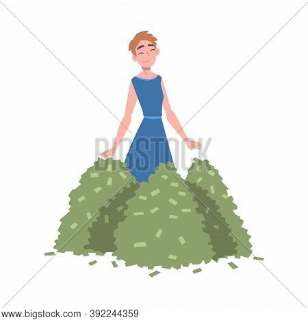 Rich Businesswoman With Piles Of Money, Wealthy Person, Millionaire Character, Financial Success, Pr