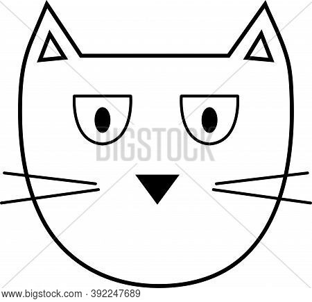 Serious Cat Character With Mustache Doodle. Vector Illustration