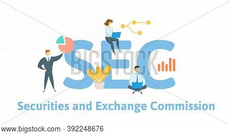 Sec, Securities And Exchange Commission. Concept With Keywords, People And Icons. Flat Vector Illust