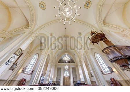 Traby, Belarus - June 2019: Interior Dome And Looking Up Into A Old Gothic Or Baroque Catholic Churc
