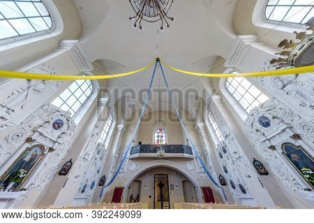 Mihalishki, Belarus - August 2019: Interior Dome And Looking Up Into A Old Gothic Or Baroque Catholi