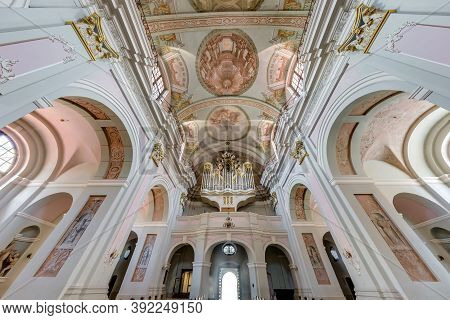 Lviv, Ukraine - August 2019: Interior Dome And Looking Up Into A Old Gothic Or Baroque Catholic Chur